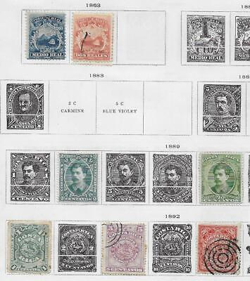 7 Costa Rica Stamps from Quality Old Antique Album 1863-1892