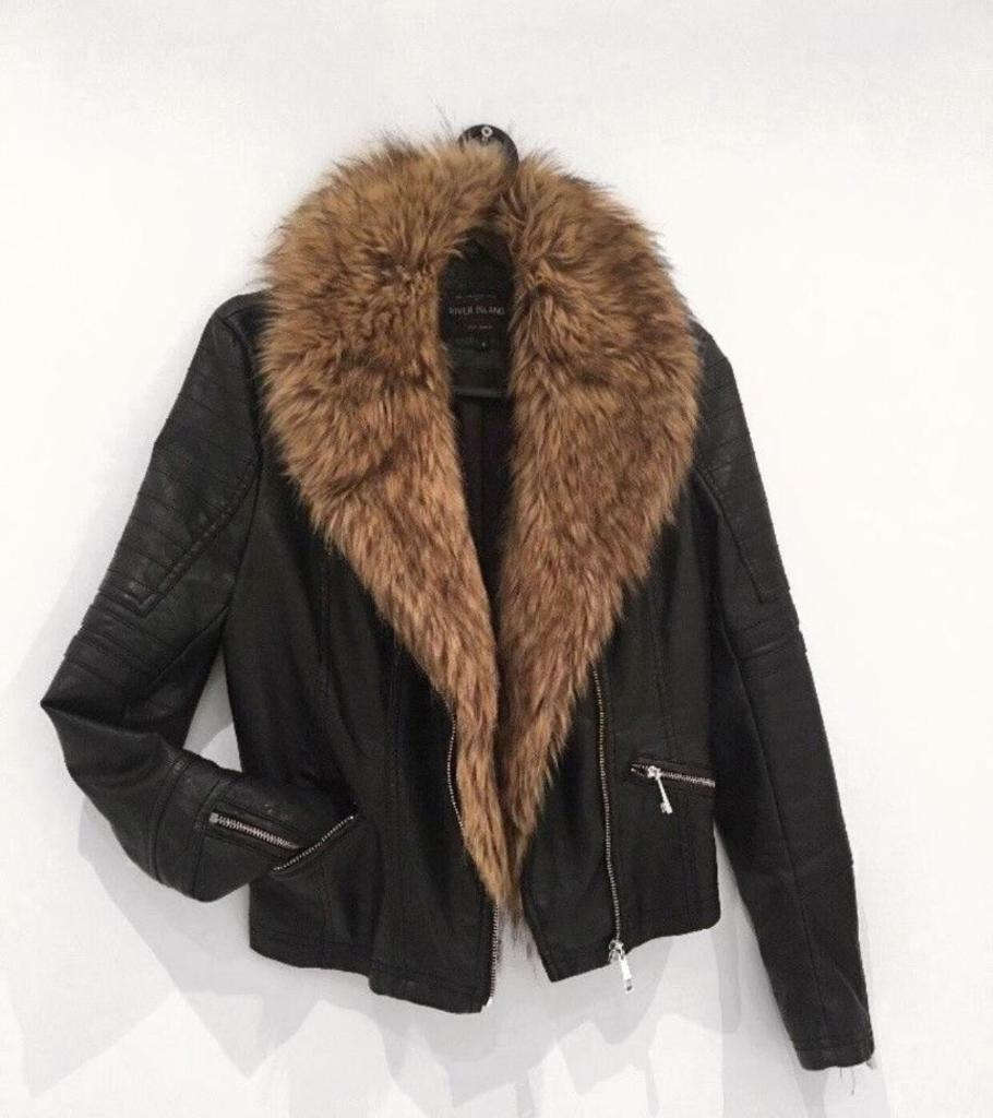 River Island Fur Trim Biker Faux Leather Jacket