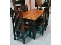 Solid wood dinning table & 6 high back chairs can arrange delivery 07808222995