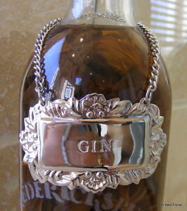 GIN Engraved Silver Liquor Emblem Decanter Label Tag