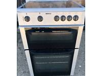 Silver beko glasstop electric cooker double oven 60cm