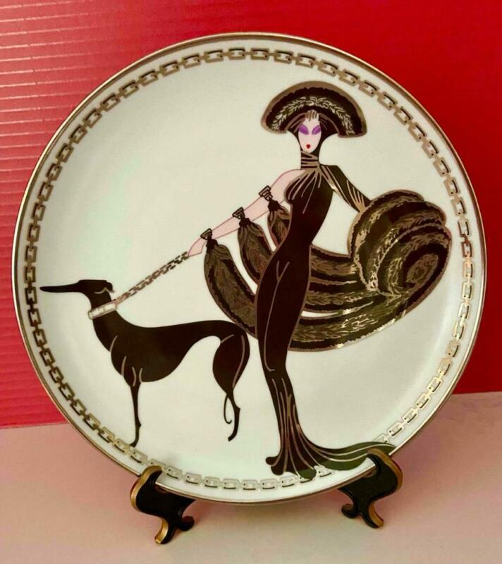 """Franklin Mint House of Erte SYMPHONY IN BLACK 8"""" Collector Plate, 1993, EX!"""