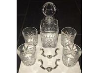 Rockingham Crystal Hand Cut Glass Decanter And Whisky Glass x 4 Set