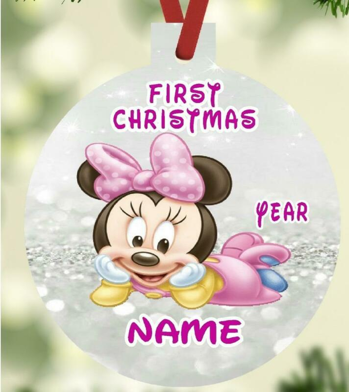 MINNIE MOUSE BABYs First Christmas Ornament Personalized Name Message Great Gift