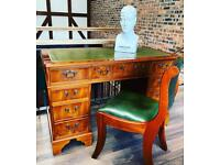 Pedestal desk and chair