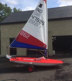 Topper sailing dingy with Harken race kit and 5.2m sail ex 2014 worlds
