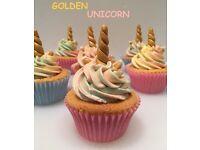 24 Golden Unicorn Childrens Birthday Party Cupcakes - Boxed & Ready to Take Away