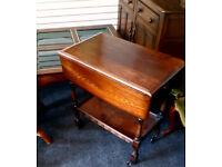 SOLID WOOD ERCOL DROP LEAF TABLE WITH SIDE DRAWER ON WHEELS LOVELY PIECE OF FURNITURE