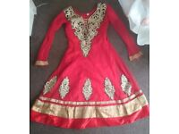 Size 28 red and gold asian suit kameez