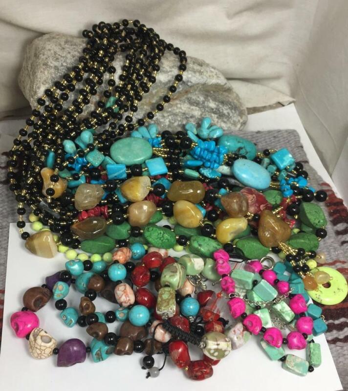 Bulk sale //lot of 20  mix gem stone necklace// bracelets/(z228c)