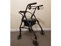 Rollator walker mobility walking aid 4 wheels seat back rest lightweight and comfy foldable
