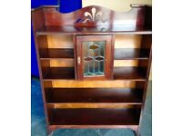 Antique Victorian Solid Maghogany Bookcase with Stained glass feature.