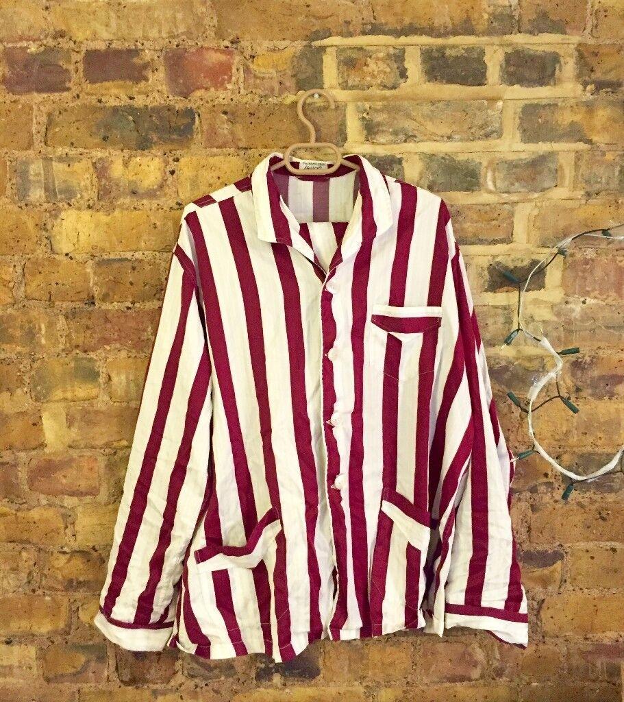 12fb6addc1795 Harrods Vintage Mens Unique Brushed Cotton Striped Pyjamas (Chest 46
