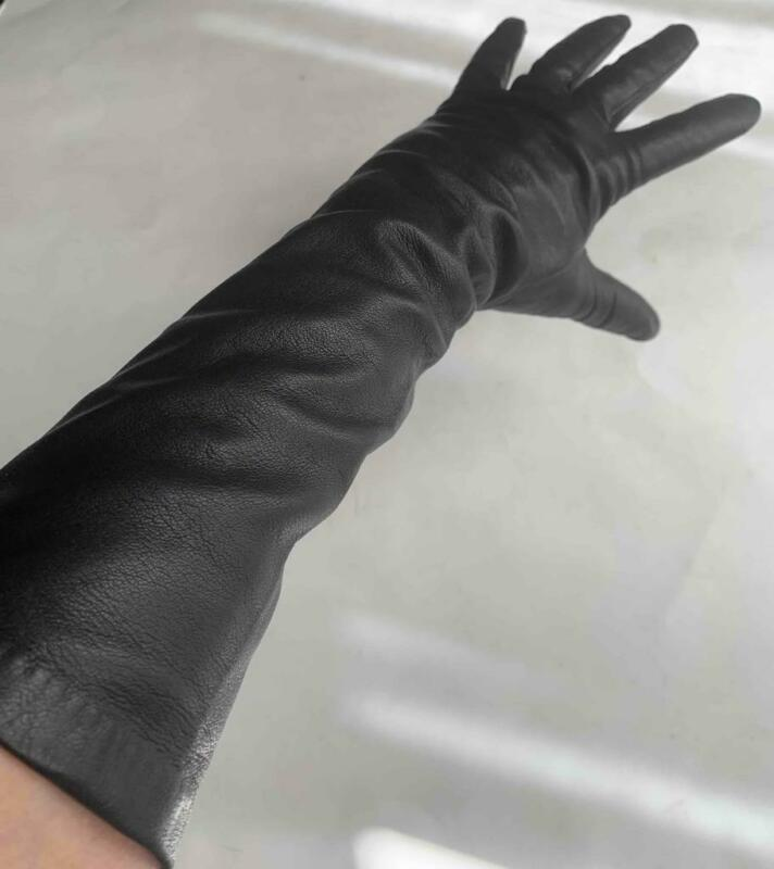 """FRENCH LEATHER SILK LINING VINTAGE ELBOW 14.5"""" LONG GLOVES SIZE 6.5"""