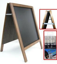 BLACKBOARD + 3 Chalk Markers - Outdoor/Pavement - Ideal for Restaurants or Cafes - Board Chalkboard