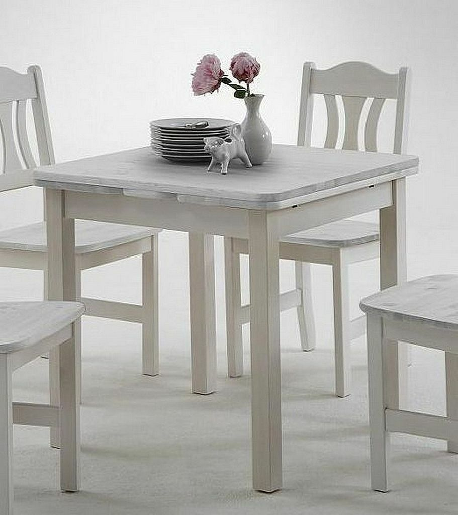 Massivholz Ausziehtisch 77x77 weiß Kiefer Küchen Tisch Esstisch ausziehbar klein
