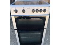 Silver beko glasstop electric cooker double oven 60cm