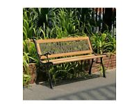 VERONA 3 Seater Garden Wooden & Cast Iron Bench.