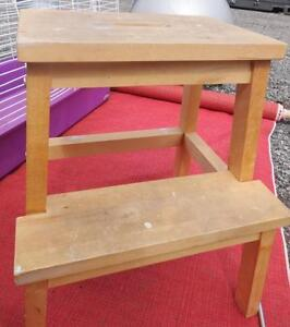WOODEN STEP STOOL VERY SOLID  OAKVILLE call/text 905 510-8720  retroalley@outlook.com UNEEDSTORAGE 702 Bronte $40 obo