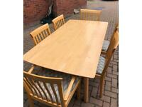 Solid Maple Dining Table & 6 Chairs