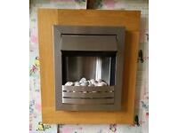 Wooden surround wall mounted electric fire heater