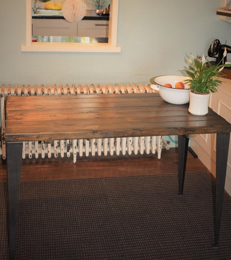 Industrial Kitchen Table Mid Century Style