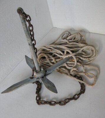 Verzinkter Klappanker mit Kette und Seil
