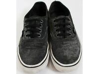 Women's Size 4 Black Glittery / Metallic Finish Vans Trainers