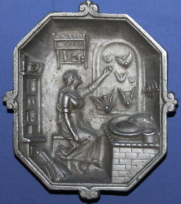 Vintage Small Ornate Metal Relief Plaque Woman Birds