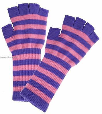 Pink Purple Striped Long Wrist Knit Ladies Fingerless Gloves Winter - Long Pink Gloves