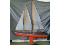 Vintage Remote Control Model Pond Boat - Wooden Sailing Yacht (including radio controls)
