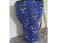 Medium 12 Inch Head Djembe Drum Bag African Blue Fabric Padded Backpack Style New