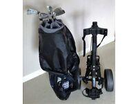 Mizuno Golf Clubs, Mitsushiba Trolley & Slazenger Bag