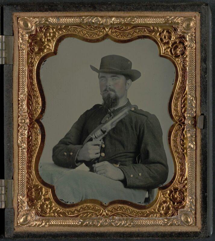 Photo Civil War Confederate 9th Cavalry Regiment Colt Army Revolver With Cigar