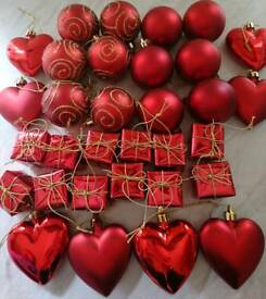 New bundle of red Christmas tree decorations
