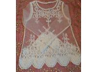 NEW EMBROIDERED BOHO BEACH COVER TOP BLOUSE CLOTHING Ivory Cream Transparent Organza Accessories