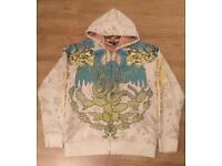 "Brand new authentic Christian Audigier men's luxury ""Blue Eagle"" designer hoodie, size Large"