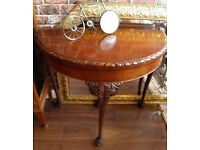 WONDERFUL DEMILUNE CARVED CARD TABLE - WE CAN DELIVER
