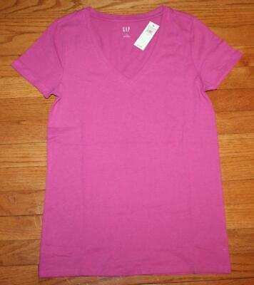 NEW NWT Womens GAP Short Sleeve V-Neck T-Shirt FAVORITE Tee Fushia FREE SHIP *T5