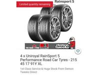 4x New Uniroyal Rainsport 5 (215/45/17) Tyres. Still in wrapper, never fitted.