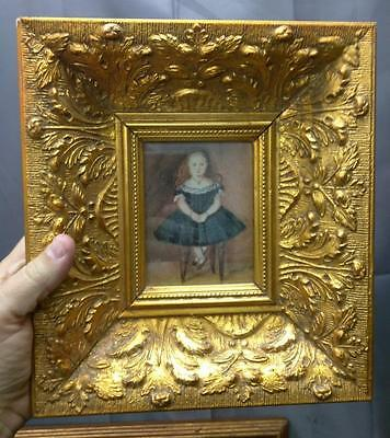 Ornate Gold Gilt Wood and Gesso Photograph Picture Frame for Miniature Painting