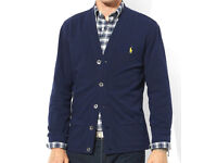 Polo Ralph Lauren Mens Navy Mesh Cardigan Cardi Jumper Sweater TW69