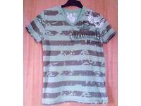 Men's Green Khaki Striped Urban Spirit V-Neck Short Sleeve T-Shirt.Size Medium