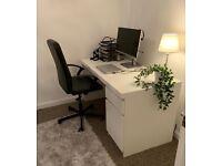 White IKEA MALM Desk & Office Chair