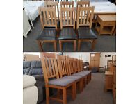 6 Julian Bowen Astoria Oak Dining Chairs Brown Faux Leather or Grey Fabric Seat Pads Can Deliver