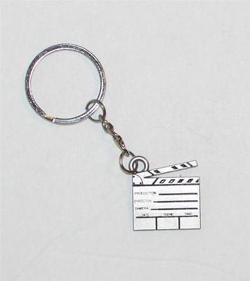 Silver Metal Tone FILM CLAPBOARD Pendent KEY CHAIN Keychain NEW (Clapboard Keychain)