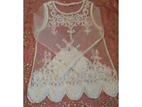 NEW Ivory Cream Ornate Embroidery Organza Top Blouse Ladies Clothing Accessories Boho Beach Cover