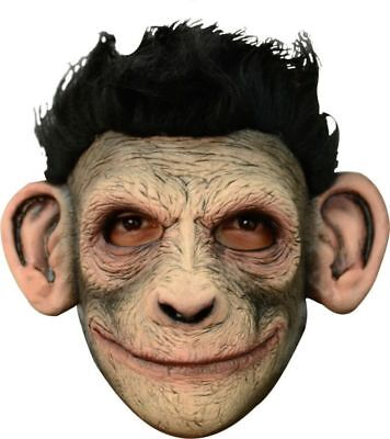 Smiley Monkey Chimp Cute Latex Mask Jungle Halloween Adult Costume Accessory