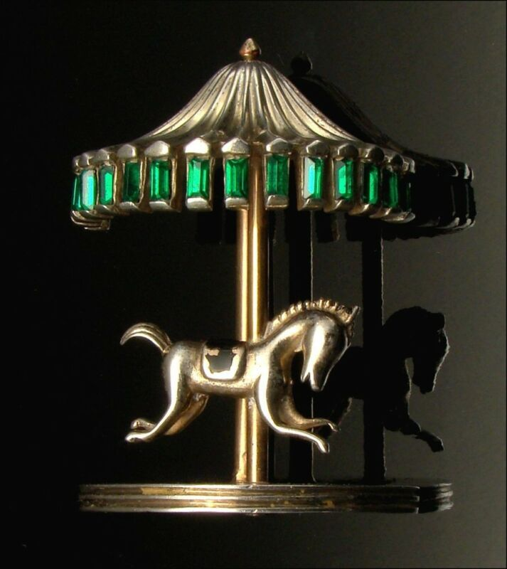 Brooch Sterling Silver Vermeil Horse Figural Merry Go Round Carousel VTG 1946