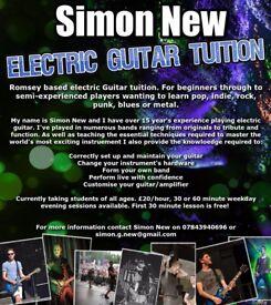 Romsey based electric guitar tutor